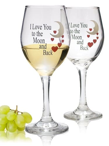 I Love You to the Moon and Back Wine Glass Set