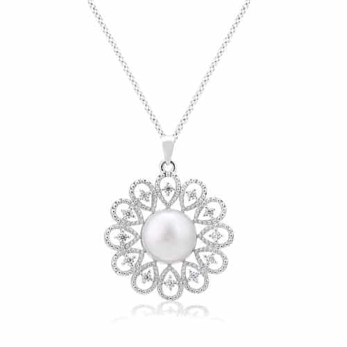 Round Flower Pearl Pendant Necklace