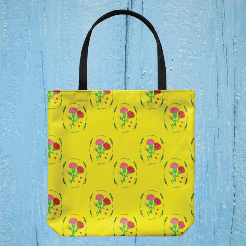 Vintage Carnation Floral Tote Bag