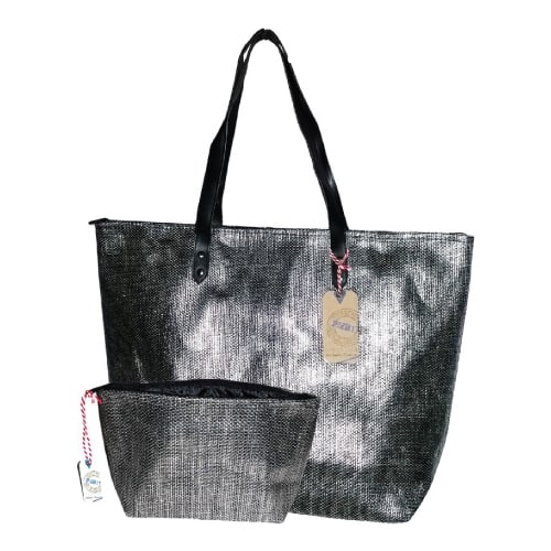 Metallic Beach Bag Combo with Matching Pouch