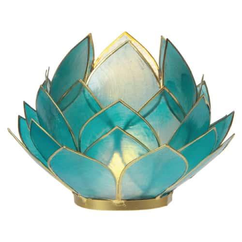 Luna Bazaar Full Bloom Capiz Lotus Candle Holder