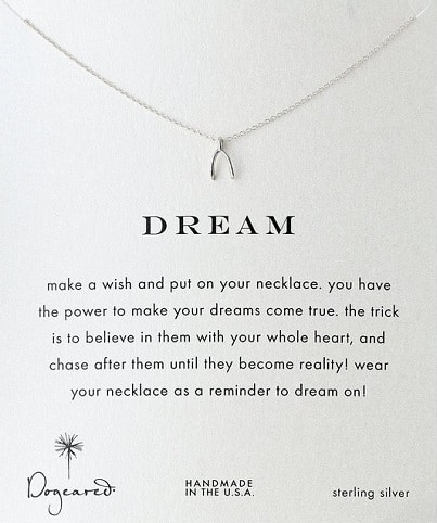 Dogeared Reminder Dream Wishbone Pendant Necklace
