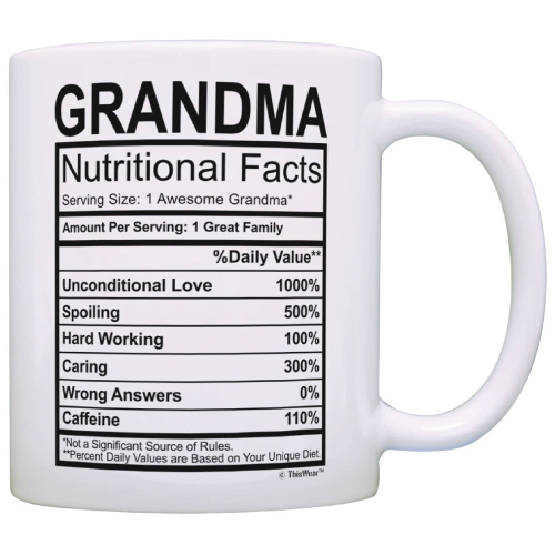 Grandma Nutritional Facts Label Mug