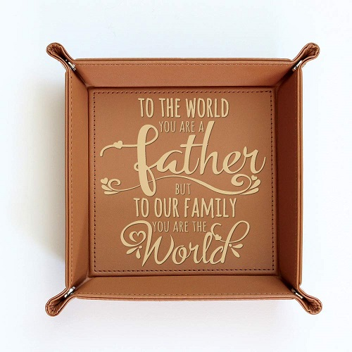 BELLA BUSTA Engraved Leather Tray for Dad