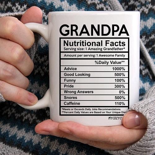 Grandpa Nutritional Facts Label Coffee Mug