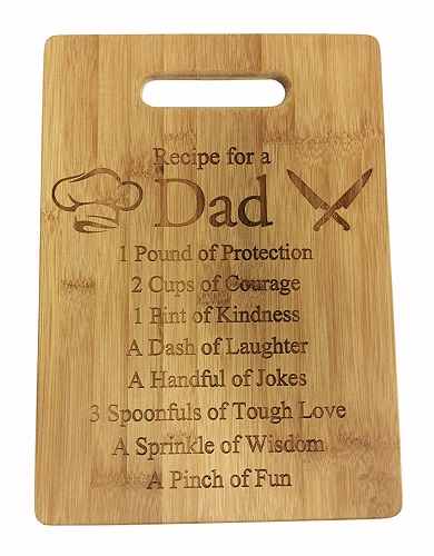 Recipe for a Dad Engraved Bamboo Cutting Board
