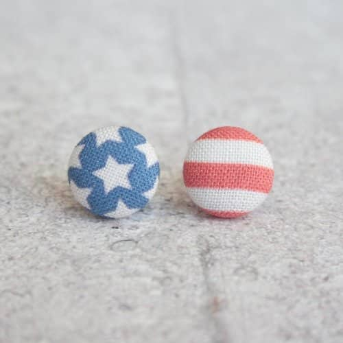 USA Flag Fabric Button Earrings
