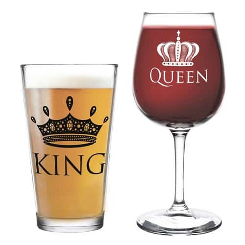 King Beer Queen Wine Glass