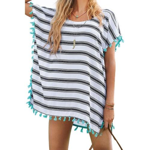 Macrame Chiffon Stripes Cover-Up