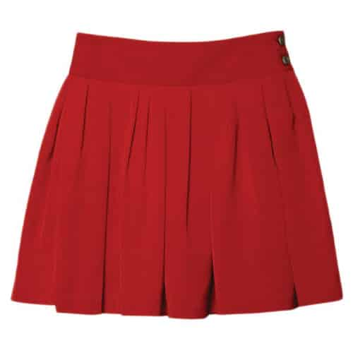 Double Waist Side Buttons Pleated Skirt