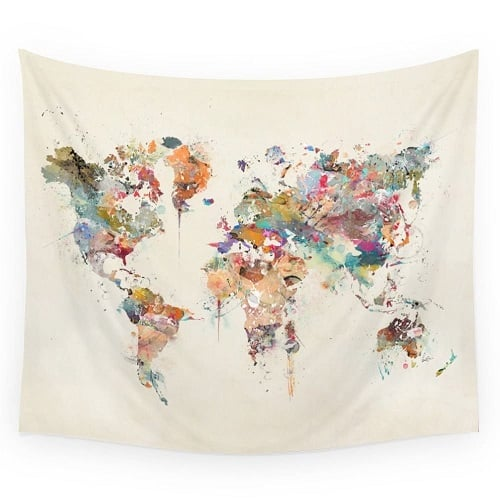 World Map Tapestry | College Girl Birthday Gifts