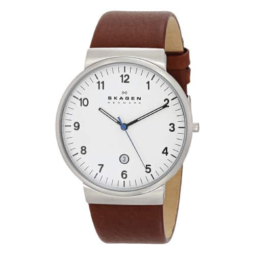 Skagen Klassik Men's Three Hand Leather Watch. Going to college gift ideas for guys.