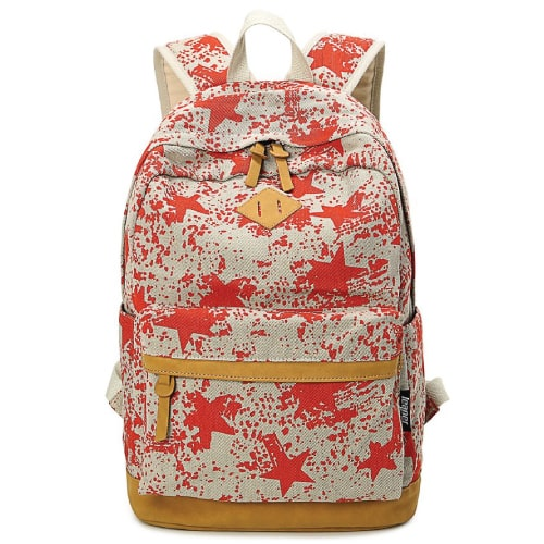 Red Stars School Backpack- Back to school supplies for teens