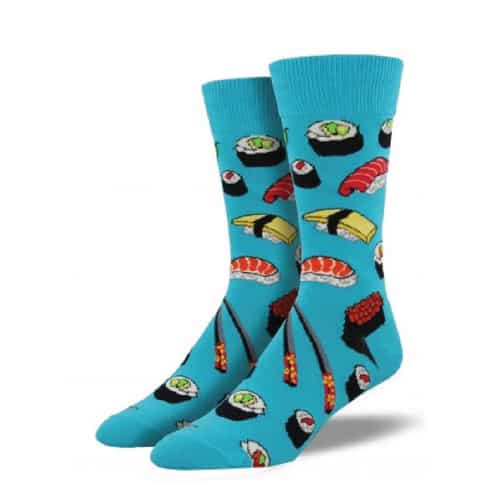 Socksmith Sushi Crew Socks. Fun college fashion. Going to college gift ideas for guys.