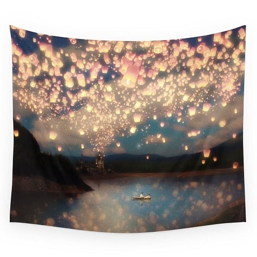 Society6 Love Wish Lanterns Wall Tapestry