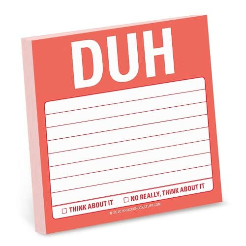 Duh Sticky Notes | Off To College Gift Ideas For Boyfriend