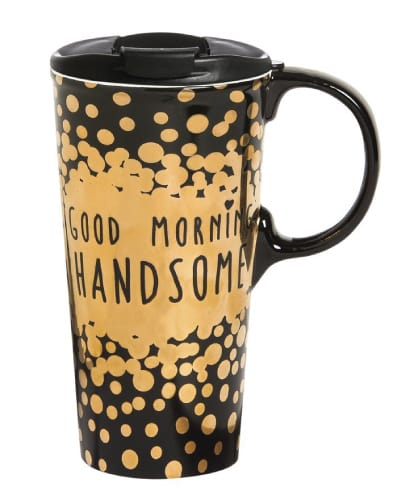 Good Morning Handsome Ceramic Travel Mug | Off to college gift ideas for boyfriend