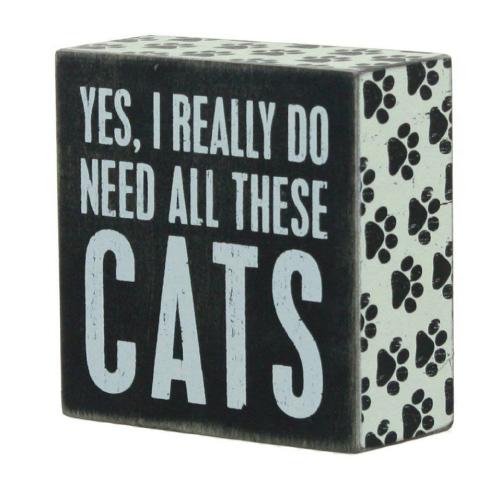 Cat Sentiment Wooden Box Sign
