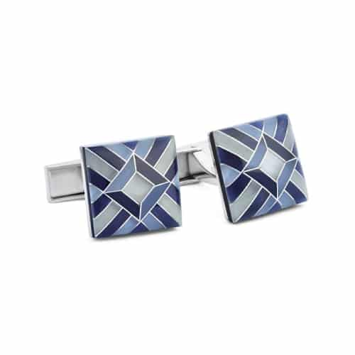 Ike Behar Mosaic Cats Eye Stone Cufflinks