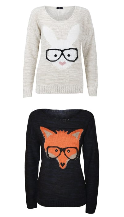 Bunny And Fox Knitted Sweater