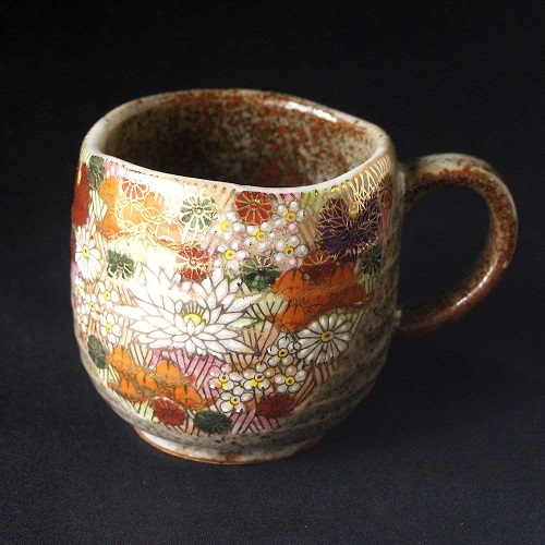 Gold Flower Mug by Kutani Yaki