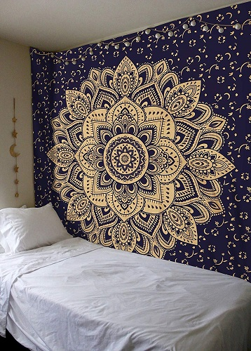 Blue Gold Passion Ombre Mandala Tapestry