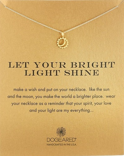 Let Your Bright Light Shine Sun and Moon Pendant Necklace