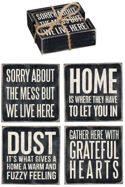 "Primitives By Kathy ""Home"" Wood Coaster Set"