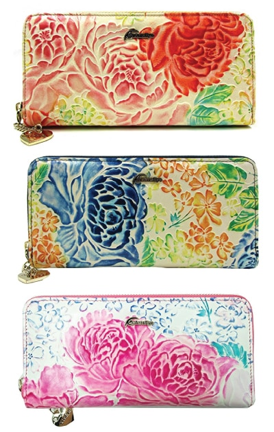 Peony Embossed Wallet Clutch