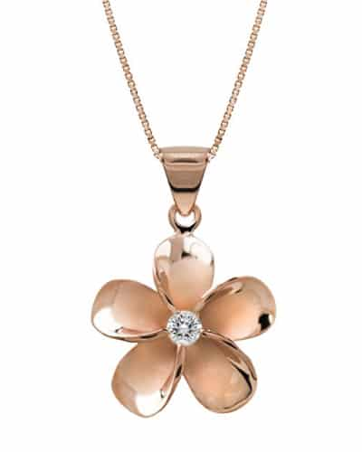 Rose Gold Plated Plumeria Flower Pendant Necklace