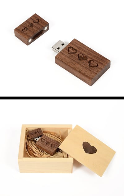 Wooden Heart Flash Drive