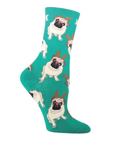 Antler Pug Crew Socks