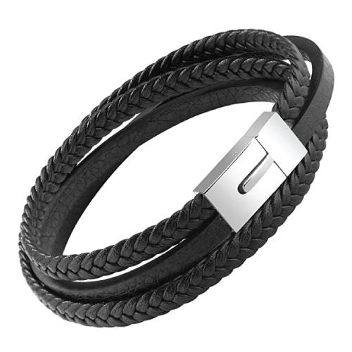 OSTAN Mens Leather Bracelet