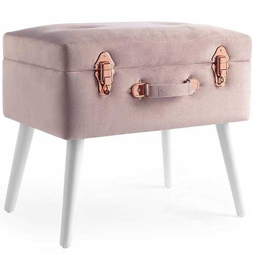 Pearlized Velvet Storage Stool Trunk