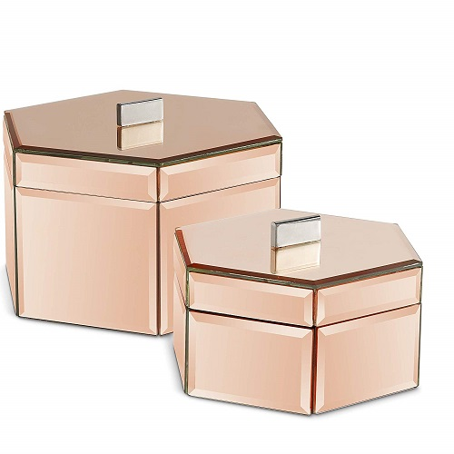 Octagon Rose Gold Desk Organizers