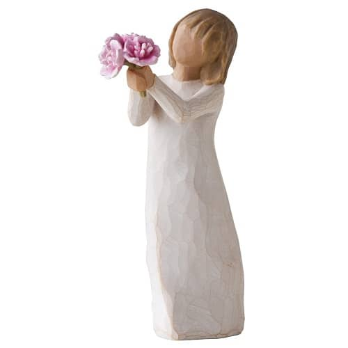 Willow Tree Holding Pink Peonies Figurine