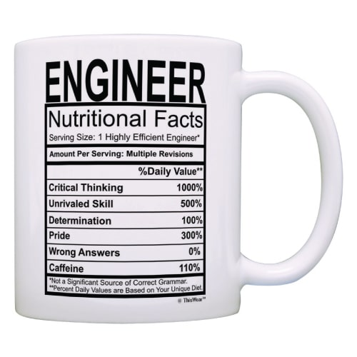 Engineer Nutritional Facts Label Mug