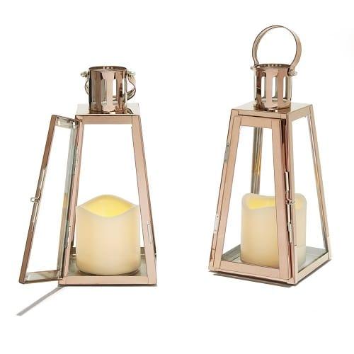 Rose Gold Glass Paneled Flameless Lantern