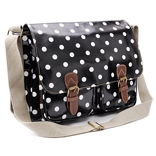 Polka Dots Oilcloth Messenger Bag