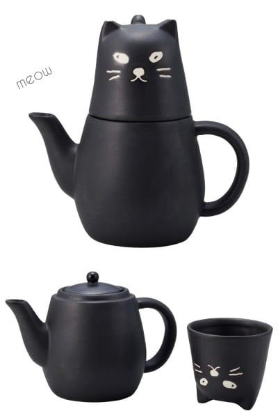 Black Cat Tea Set for One