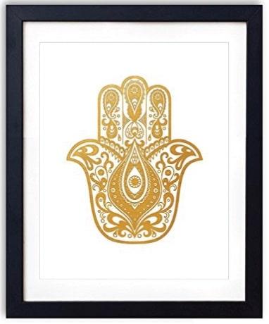 Hamsa Hand Gold Foil Art