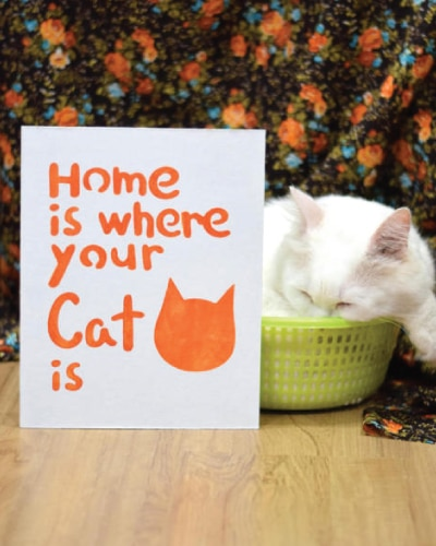 Home Is Where Your Cat Is Wall Art | Mothers Day gifts from kids