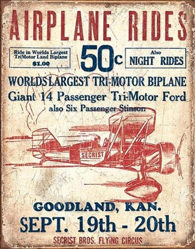 Airplane Rides Tin Sign. Gifts For Pilots