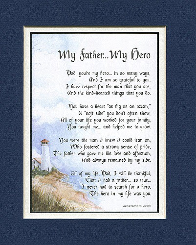 My Father My Hero Poem for Dad | Fathers Day gifts for dad who has everything
