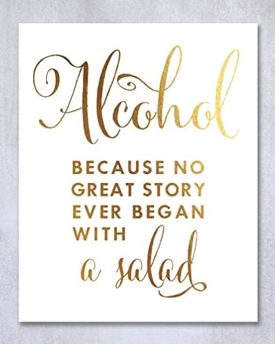 Alcohol Gold Foil Wall Art | Fathers Day gifts for dad who has everything