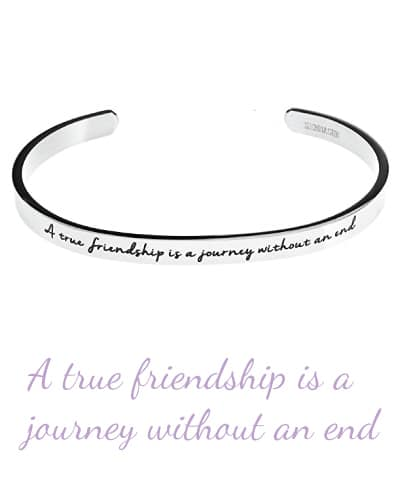 Friendship Quote Cuff Bangle Bracelet | sentimental gifts for best friends
