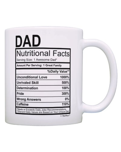 dad nutritional facts label mug