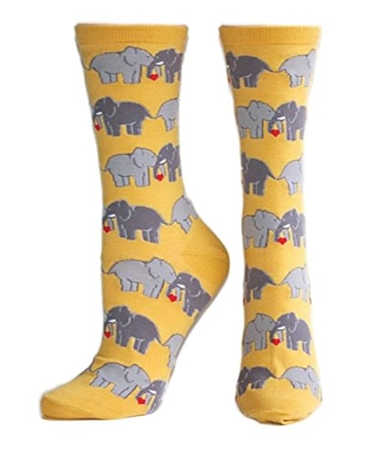 Socksmith Yellow Elephant Crew Socks | best friend gifts