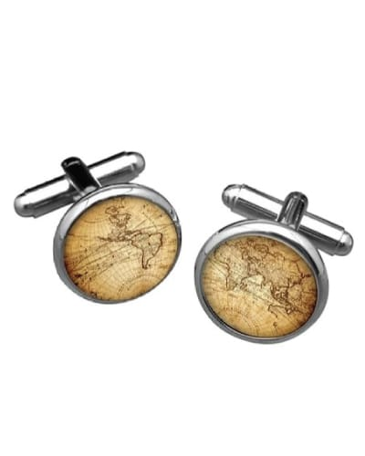 Vintage World Map Cufflinks - Gifts for Pilots
