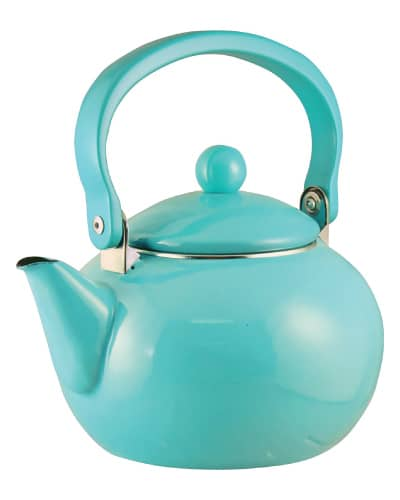 Enamel-on-Steel Tea Kettle | Mint Green Kitchen Decor Ideas and Accessories